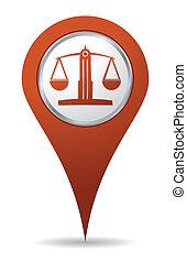 egyensúly, elhelyezés, ügyvéd, ikon