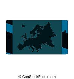 egyesítés, cellphone, európai, térkép