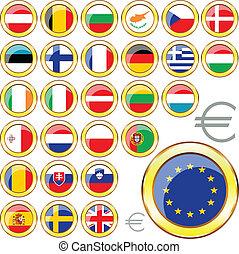 egyesítés, gombok, európai