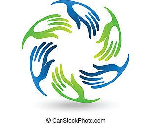 egyesítés, stilizált, kézbesít, csapatmunka, jel