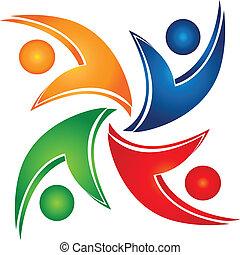 egyesítés, swooshes, csapatmunka, jel