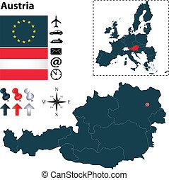 egyesítés, térkép, ausztria, európai
