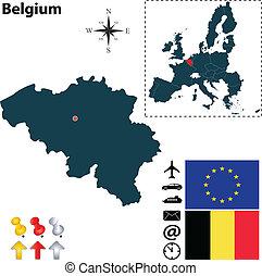 egyesítés, térkép, belgium, európai