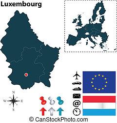 egyesítés, térkép, luxemburg, európai