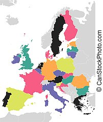 egyesítés, térkép, színes, európai
