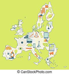 egyesítés, térkép, technolo, európai
