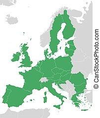 egyesítés, térkép, zöld, európai