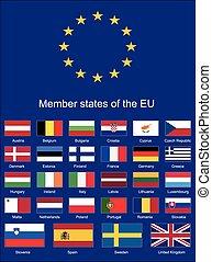 egyesítés, zászlók, eu, zászlók, európai
