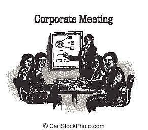 egyesített, vita, gyűlés, businessmen