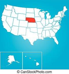 egyesült, -, ábra, egyesült államok, állam, nebraska, amerika