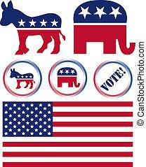 egyesült államok, állhatatos, politikai, jelkép, egyesült, fél