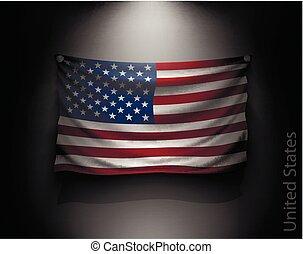 egyesült államok, egyesült, fal, lenget lobogó, sötét