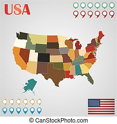 egyesült államok, egyesült, geo, egyesült államok, térkép, elválasztott, lobogó