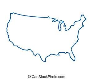 egyesült államok, elvont, kék, egyesült, térkép