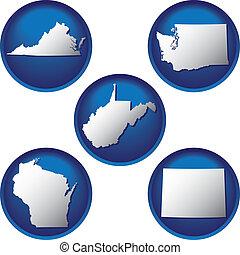 egyesült államok, gombok, egyesült, öt