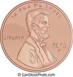 egyesült államok, lincoln, egyesült, penny
