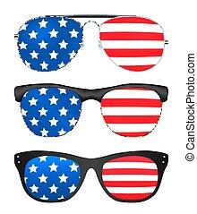egyesült államok, lobogó, egyesült, napszemüveg, amerika