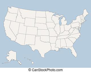 egyesült államok, térkép, amerika, egyesült, vektor