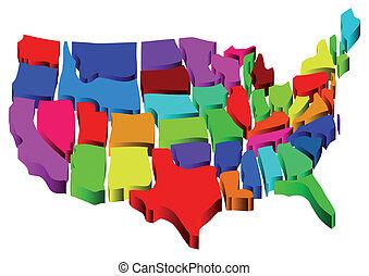 egyesült államok, térkép, egyesült