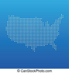 egyesült államok, térkép, egyesült, pont