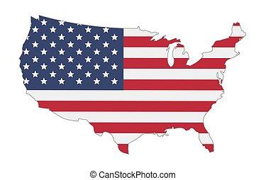 egyesült államok, térkép, lobogó, egyesült, amerika