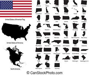 egyesült államok, vectors, usa