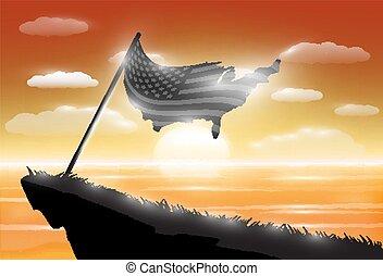 egyesült, árnykép, tenger, egyesült államok, lobogó, napnyugta, háttér, amerika, szirt