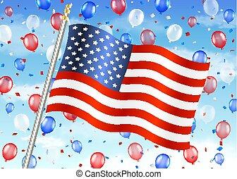 egyesült, balloon, ég, egyesült államok, lobogó, amerika