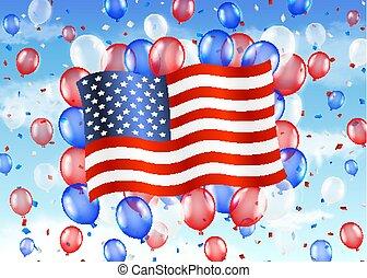egyesült, balloon, ég, helyzet lobogó, amerika