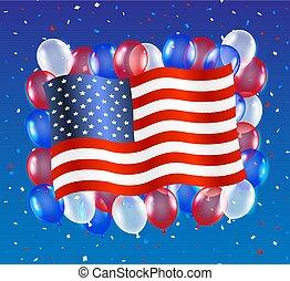 egyesült, balloon, egyesült államok, lobogó, háttér, amerika