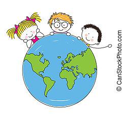 egyesült, gyerekek, világ, mindenfelé