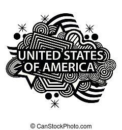 egyesült, illusztrátor, egyesült államok, vektor, amerika, doodles.