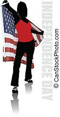 egyesült, poszter, egyesült államok, állás, szöveg, amerika, nap, szabadság