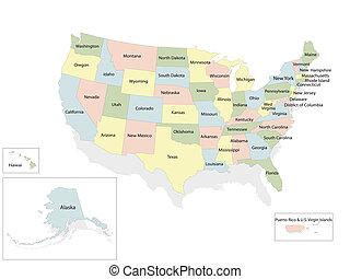 egyesült, térkép, amerika, egyesült államok