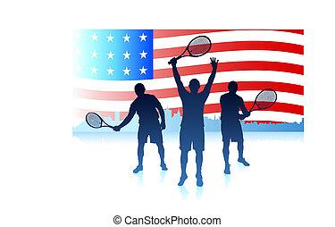 egyesült, tenisz, egyesült államok, játékosok, lobogó, háttér
