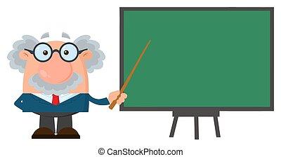 egyetemi tanár, betű, vagy, természettudós, átnyújtás, mutató, karikatúra, bizottság