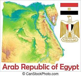 egyiptom, térkép, lobogó, bőr