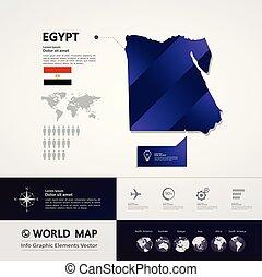 egyiptom, térkép, vektor