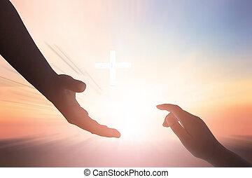 egység, concept:silhouette, remény, helpping, kéz, béke, nemzetközi, nap, fogalom