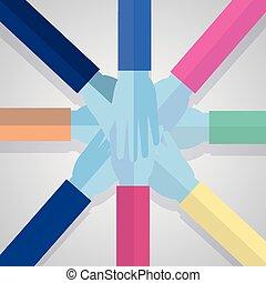 egység, kézbesít, közösség, befog