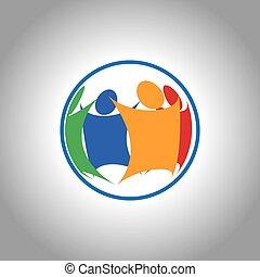 egységes, csoport, emberek