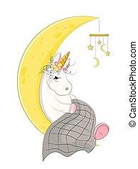 egyszarvú, alva, varázslatos, csinos, moon.