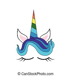 egyszarvú, colorful ing, furcsa, kártya, face., nyomtat, betű, flowers., rózsa, design., csinos