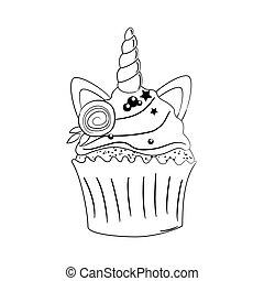 egyszarvú, cupcake, fekete, illustration., szín, vektor, csinos, fehér