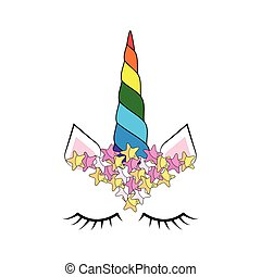egyszarvú, furcsa, nyomtat, face., csinos, colorful ing, betű, rózsa, kártya, flowers., design.