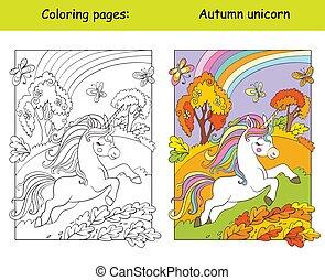 egyszarvú, futás, erdő, csinos, színezés, ősz