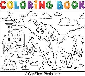 egyszarvú, könyv, bástya, színezés