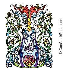 egyszarvú, szórakozottan firkálgat, színezett