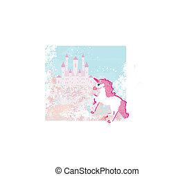 egyszarvú, varázslatos, táj, fairytale, bástya, rózsaszínű