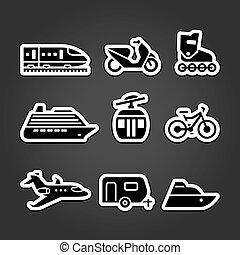 egyszerű, állhatatos, szállítás, ikonok